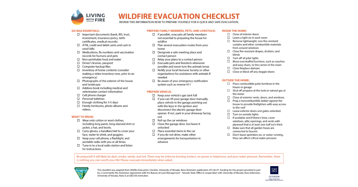 Photo of the Wildfire Evacuation Checklist. An accessible PDF version is available at bit.ly/WildfireEvacuation